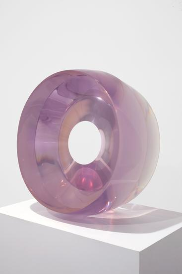 De Wain Valentine Large Ring Light Violet, 1968 Cast Polyester Resin 24 1/2  X 24 1/2 X 11 In. Hall Collection